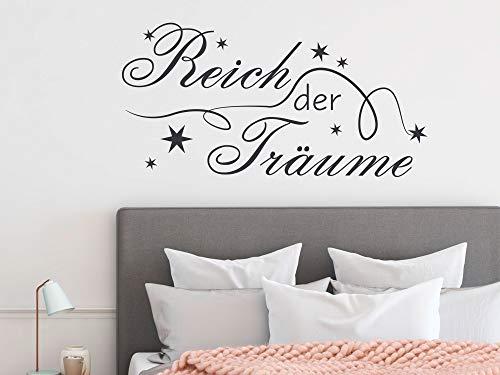 GRAZDesign Wandtattoo Deko über Bett, Schlafzimmer Wandtattoo Reich der Träume, Home Dekoration modern Sterne / 59x30cm / 070 schwarz