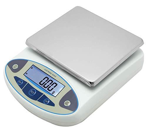 GOLDENWALL 5000g,0.01g Bilancia di Precisione Display LCD Bilancia Analitica Elettronica di Laboratorio Calibrato e Pronto per la lettura Alimentazione AC/DC