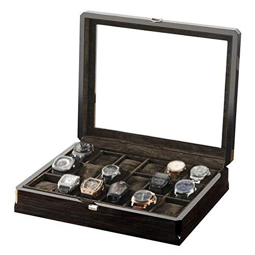 HEMFV Watch Box Top Klarglas Jewelry Box 18 Slot Massivholz-Uhr-Box Schmuckschatullen Organisator-Aufbewahrungsfach for Männer & Frauen