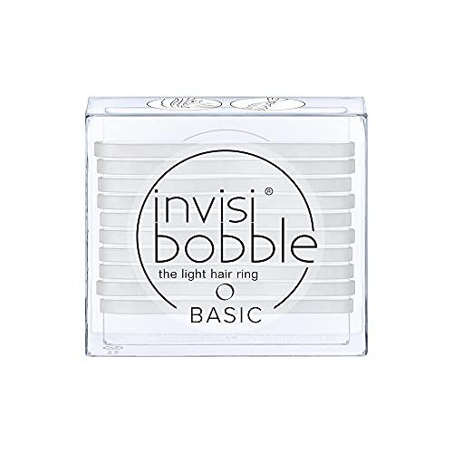 invisibobble Basic Haargummis Crystal Clear I 3x dünne Haargummis transparent für Mädchen, Damen und Herren I starker Halt und haarschonend I das Original, designed im Herzen Münchens