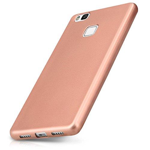 kwmobile Funda Compatible con Huawei P9 Lite - Carcasa móvil de Silicona - Protector Trasero en Oro Rosa Metalizado