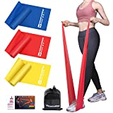 4.9ft Resistance Bands Set - Exercise Bands for Physical Therapy, Yoga, Pilates, Rehab and Home Workout, Non-Latex Elastic Bands Set of 3