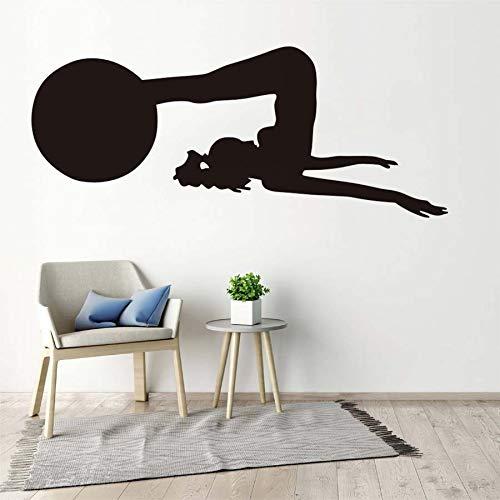 Tianpengyuanshuai vinyl muursticker woonkamer uitneembare yoga-pose met bal moderne muurkunst aftrekplaat kamer wooninrichting