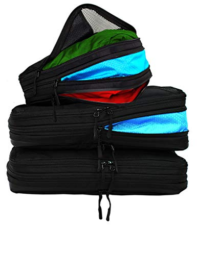 Taskin | Compression Packing Cubes | Clean & Dirty Compartments w/Flexible Separator | New Patent Pending Anti-Snag-Zipper Construction | YKK Zippers (Black | Set of 3 | 2 L + 1 M)