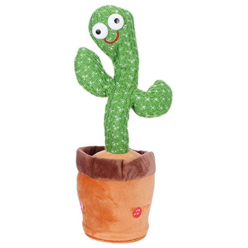 Cactus Knuffel, Elektronische Zingende Dansende Cactus Beeldjes Auto Ornament Dashboard Decoratie Decomprimeren Met 120 Stks Ingebouwde Liedjes 34x10x10 Cm