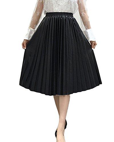 Guiran Falda Midi De PU Campana Piel para Mujeres Alta Cintura Falda con Plisada Negro