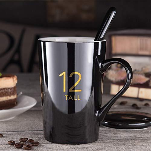 Tasse Geschenk Kaffee 420 / 580Ml Keramikbecher Kreative Buchstaben Nummer Musterbecher Mit Löffeldeckel Schwarz Und Gold Milch Kaffeetasse Trinkgeschirr, 2