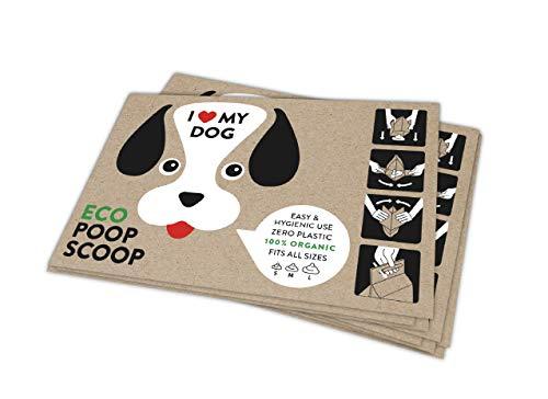 Eco Poop Scoop Bags - 100% Organic Biodegradable Paper Poop Bags - 100 Bags | Touchless Poop Bags | Compostable Poop Bags | Eco-friendly Poop Bags | Best Poop Bags | Earth Friendly Poop Bags