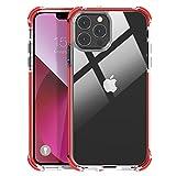 MATEPROX Funda Transparente Compatible con iPhone 13 Pro MAX Carcasa Trasera Rígida Bumper Antigolpes, Rígida Dura PC Ligera TPU Bordes Protector Fundas para iPhone 13 Pro MAX 6,7''-Rojo