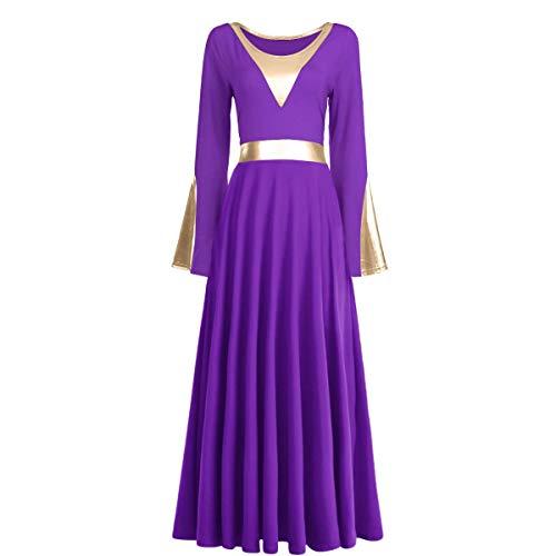 Praise Dance Dress Women Elegant Vintage Pagoda Sleeve Maxi Dress Casual Long Sleeve Prom Ball Gown Wedding Party Dress Performance Modern Dance Christmas Show Dresses Hanukkah Outfit Purple + Gold XL