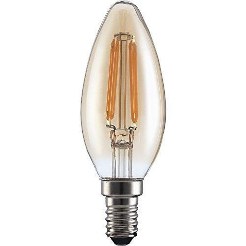 Pack de 103,5W E14Vintage vela LED filament bombilla 360lm vela SES rosca pequeña Edison, 360lúmenes, 15.000horas de vida útil, 3000K, luz blanca cálida, sustituye a 30–33W