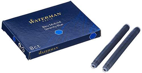 Waterman S0713001 Blister de 4 Etuis de 8 Cartouches Longues pour Stylo Plume en encre Bleu effaçable