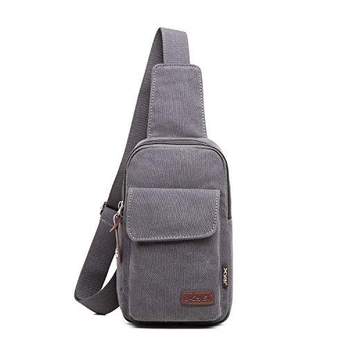 FANDARE Brusttasche Herren Schultertasche Sling Bag Rucksack 7.9 inch iPad Sling Bag Segeltuch Tasche Umhängetasche Sporttasche für Wandern,Abenteuer,Sport, Reisen und Joggen Dunkelgrau
