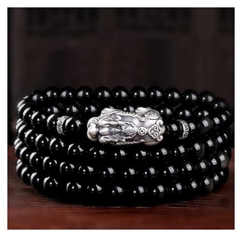 Feng Shui Pulsera de riqueza genuina negra obsidiana plata pura plata pixiu pi yao pulsera prosperidad rica afortunado amuleto curación chakra piedras preciosas con cuentas collar talismán para éxito