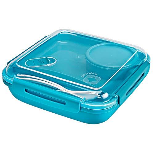 Rotho Memory B3 Lunchbox 1,1l mit Besteck und separatem Behälter, Kunststoff (PP) BPA-frei, blau, 1,1l (19,5 x 19,5 x 6,5 cm)