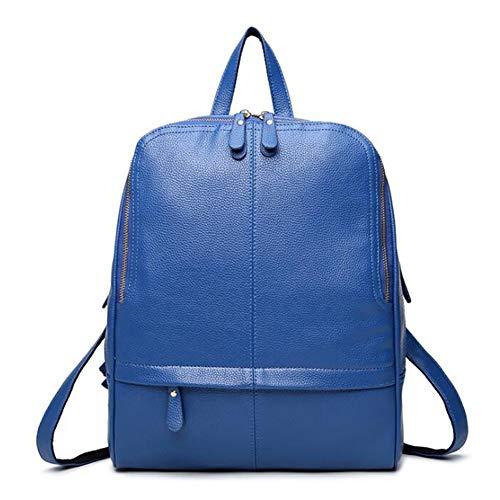 DcSpring Zaino in PU Pelle Sacchetti di Scuola Zainetto Zaini Borsa Zip Vintage da Viaggio Lavoro per Donna (Blu)