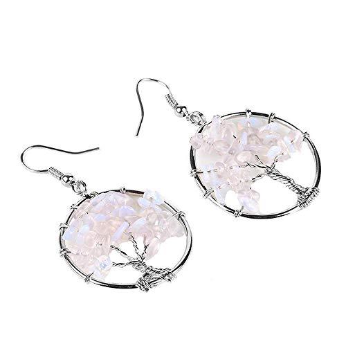 Purmy Opal Frauen Baumeln Ohrringe,Chakra Steine Heilender Kristall Baum des Lebens