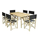 ZEW SET-015-0-02 Bamboo Rectangular Table with 6 Director Chairs