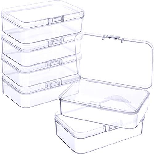 6 Cajas de Almacenamiento de Cuentas Contenedores de Plástico Transparente Pequeños con Tapa Abatible de Recolección Artículos Pequeños, Joyerías (3,27 x 2,13 x 1,02 Pulgadas)