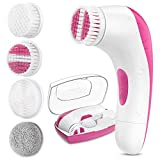 【2021 Upgraded】ETEREAUTY Facial Cleansing Brush, Waterproof Face Brush with 4 Brush Heads and a Protective Case - Deep Cleansing, Gentle Exfoliating, Removing Blackhead for Face and Body, Pink
