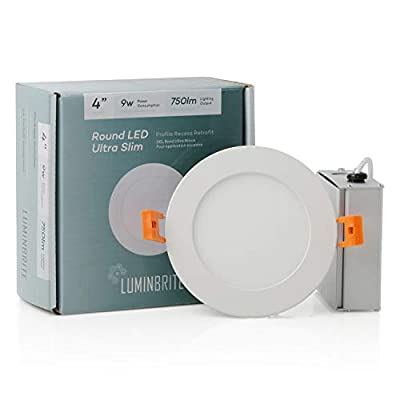 Lumin Brite Round Dimmable LED Recessed Ceiling Light Panel | Residential High Lumens | Slim Profile Disk Light for Home | ETL Listed/Energy Star Certification