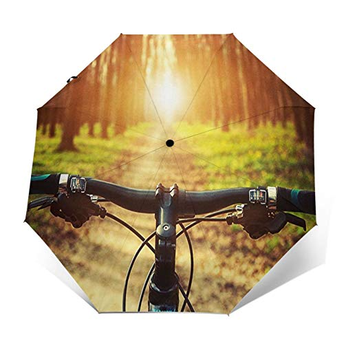 Windproof Travel Folding Umbrella Automatic Mountain Bike 4, Large Rain Folding Compact Umbrella Portable Fast Drying with Auto Open Close Button
