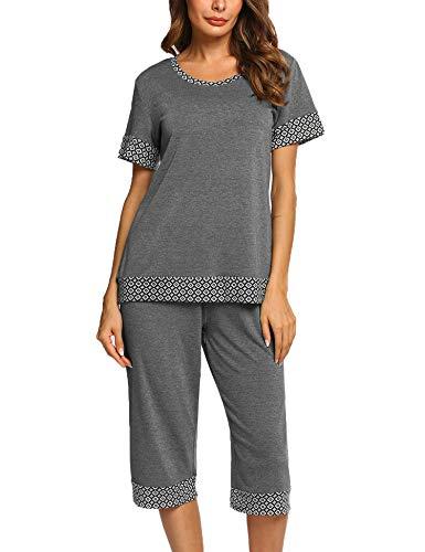 Unibelle Damen Schlafanzug Kurz Shorty Pyjama Zweiteiliger Nachtwäsche für Sommer Grau M