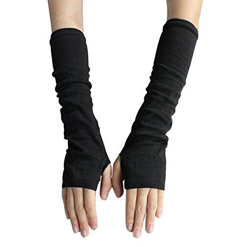 FSSTUD Winter Warm Fingerlose Handschuhe Armstulpen Strick Lang Pulswärmer Handwärmer Stulpen Schwarz