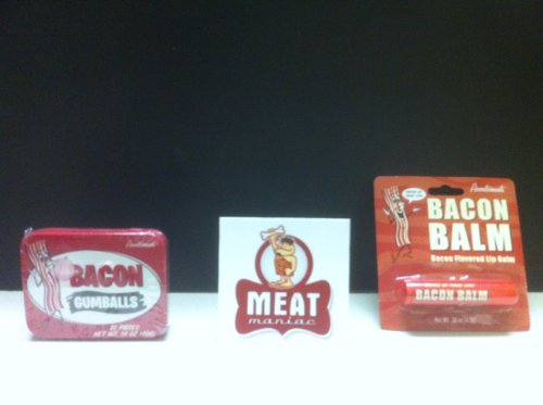 Meat Maniac Novelty Bacon Lovers Combo Gift Pack- Bacon Lip Balm & Bacon Gumballs