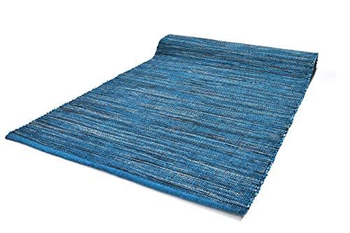 Bali Tappeto Cotone Lavabile Bagno Cucina Antiscivolo 60x260 Vari Colori Lavabile in Lavatrice 30° (60x260cm, Blue)