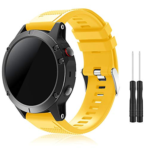 TOPsic Garmin Fenix 5 Banda, Silicona Reemplazo Correa con 2pzs Destornilladores para Garmin Fenix 5 / Forunner 935 Smart Watch, 13.5cm-22.5cm, no Adapta a Fenix 5X, 5s (Amarillo)