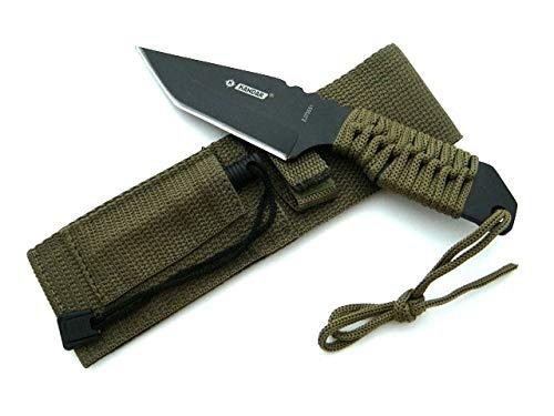 KOSxBO® BW Taktisches Survival Messer mit Feuerstein und Paracord - Fallschirmleine für Outdoor Camping Jagd Angeln Prepper