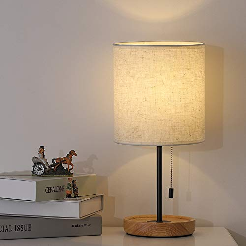 Modern Table Lamp, Nightstand Desk Lamp, Bedside Lamp with Wood Base and Linen Shade for Living...