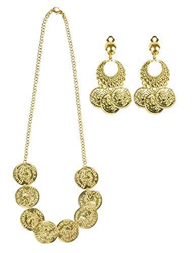 shoperama Schmuck Set Kette Clip-Ohrringe Gold-Münzen Göttin Haremsdame Wahrsagerin Zigeunerin Römerin Orient 1001 Nacht
