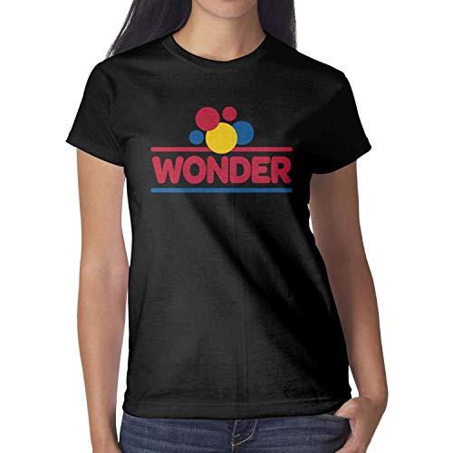 Heart Wolf Girls Black T-Shirts Cotton Summer Wonder-Bread-Logo- Short Sleeve