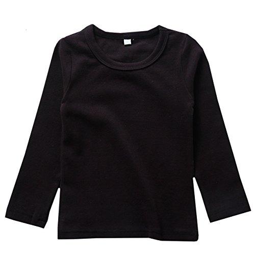リリィ クプラウ 長袖Tシャツ ラウンドネック 無地 キッズ 140 ブラック