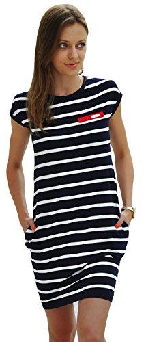 Sommer SeXy Tunika mit Streifen Minikleid Top Blogger Style S-XL 36-42 (340) (M, Mit Blau Streifen)