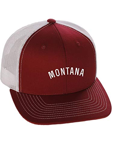 Daxton USA Cities Trucker Mesh Structured Hat Mid Profile Snapback Cap - Montana Burgundy White White