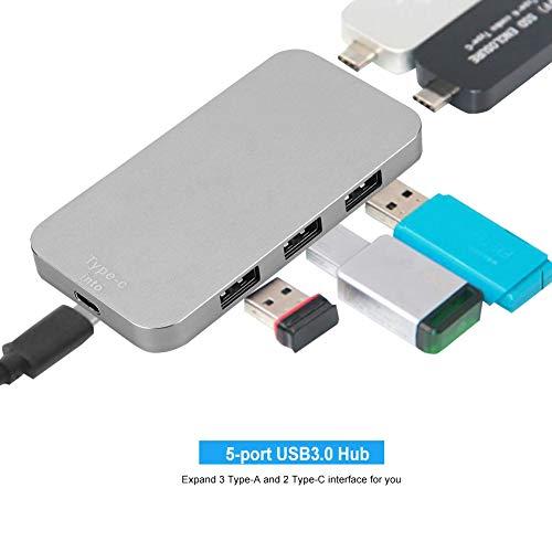 VBESTLIFE 5-poorts USB-hub, 2 type C en 3 type A-USB 3.0-uitbreiding draagbare aluminium USB-hub-oplader splitter-adapter voor MacBook, PC, muis, toetsenbord, tablet, externe harde schijf
