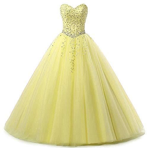 Zorayi Damen Liebsten Lang Tüll Formellen Abendkleid Ballkleid Festkleider Gelb Größe 34