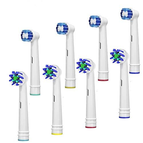 Price comparison product image eplacement Toothbrush Heads Compatible Oral B Braun,  8 Pack Professional Electric Toothbrush Heads Sensitive Clean Brush Heads Refill for Oral-B 7000 / Pro 1000 / 9600 / 500 / 3000 / 8000 (8-PACK)