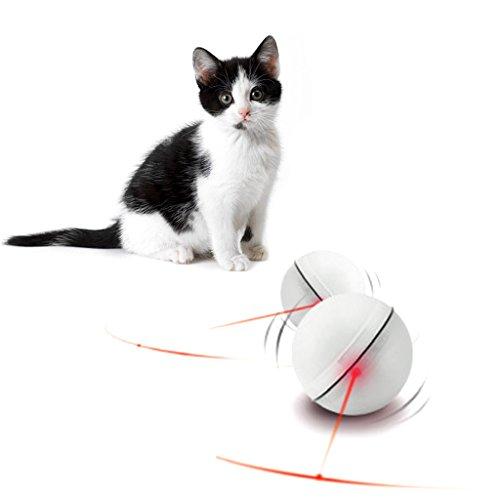 KatzenSpielzeug,Dairyshop Lustige Haustier Hund Katze LED Licht Magic Ball Teaser Übung interaktive automatische Spielzeug... (Weiß)