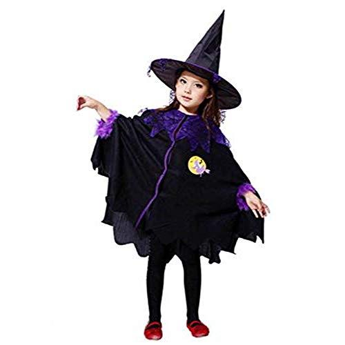 Kostüm für Kinder Mädchen,Halloween Karneval Party Kleid mit Hut,Bezaubernde Hexe Halloween Kostüm Kinder Mädchen Halloween Fest von Innerternet