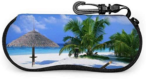 MODORSAN Beach Blue Sea Palm Gafas de sol Estuche blando Estuche protector con cremallera Estuche protector con clip para cinturón