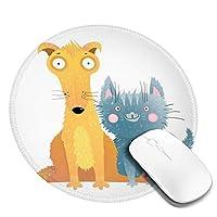 マウスパッド 円形 かわいい オフィス最適 ネコ イタチ 子供絵 キュートゲーミング エレコム 防水性 耐久性 滑り止め 多機能 おしゃれ ズレない 直径20cm