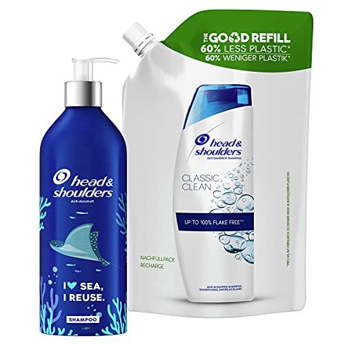 Head & Shoulders Classic Clean Anti-Schuppen Shampoo Starter-Set, Nachfüllbare Aluminiumflasche Und Recycelbarer Nachfüllpack, Pumpspender, Shampoo gegen Schuppen, 72 H Schuppen-Schutz 910 ml