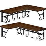 GREENSTELL Corner Shelves Wall Mounted, Pine Floating Shelves Set of 2 with Hooks and Towel Bar,...