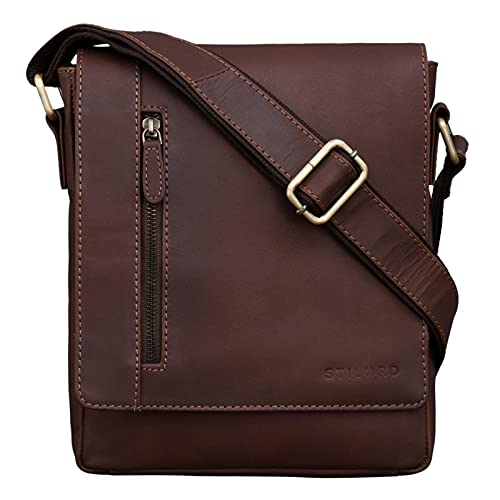 STILORD  Easton  Vintage Bolso de Mensajero de Cuero para Hombre Mujer Bolsa Bandolera o de Hombro para Tablet de 10,1 Pulgadas de Auténtica Piel, Color:Havanna - marrón