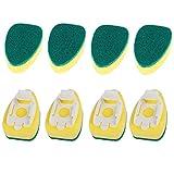 8pcs de la manija de la esponja esponja mágica Lavadora cabeza del cepillo cepillo de limpieza de cocina sustitución de la cabeza plato esponja de lavado depurador esponja (Color : Yellow)