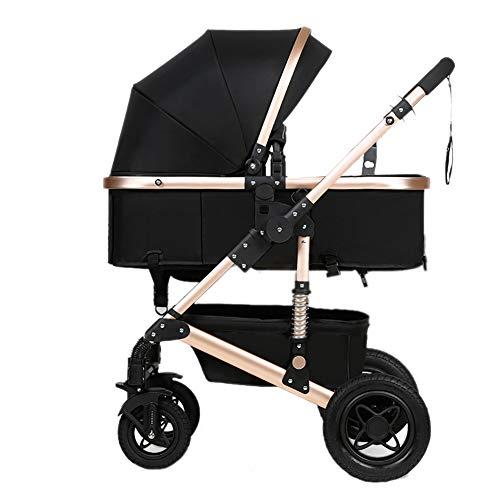 Yhz@ Cochecito de bebé, Plegable Ligero del Amortiguador de los niños Empuje los carros del bebé Infantil Carro de aleación de Aluminio Marco Sillas de Paseo (Color : Negro)